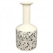 Vaso De Cerâmica Branco Estilo Quartzo  22cmx ø10cmx10cm