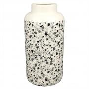 Vaso De Cerâmica Branco Estilo Quartzo  24cmx ø12cmx12cm