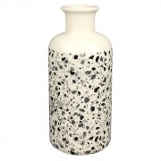 Vaso De Cerâmica Branco Estilo Quartzo  25cmx ø11cmx11cm