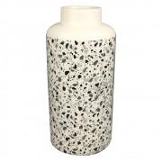Vaso De Cerâmica Branco Estilo Quartzo  30cmx ø14cmx14cm