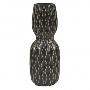 Vaso Geométrico de Cerâmica Preto 33cmx13cmx13cm