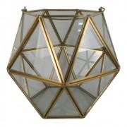 Vaso Geométrico de Vidro e Metal Dourado 16cmx18cmx18cm