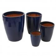 Vaso Vietnamita Azul Petróleo Oval Lux  4 peças
