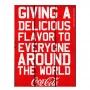 Placa de madeira coca-cola giving a delicious moment