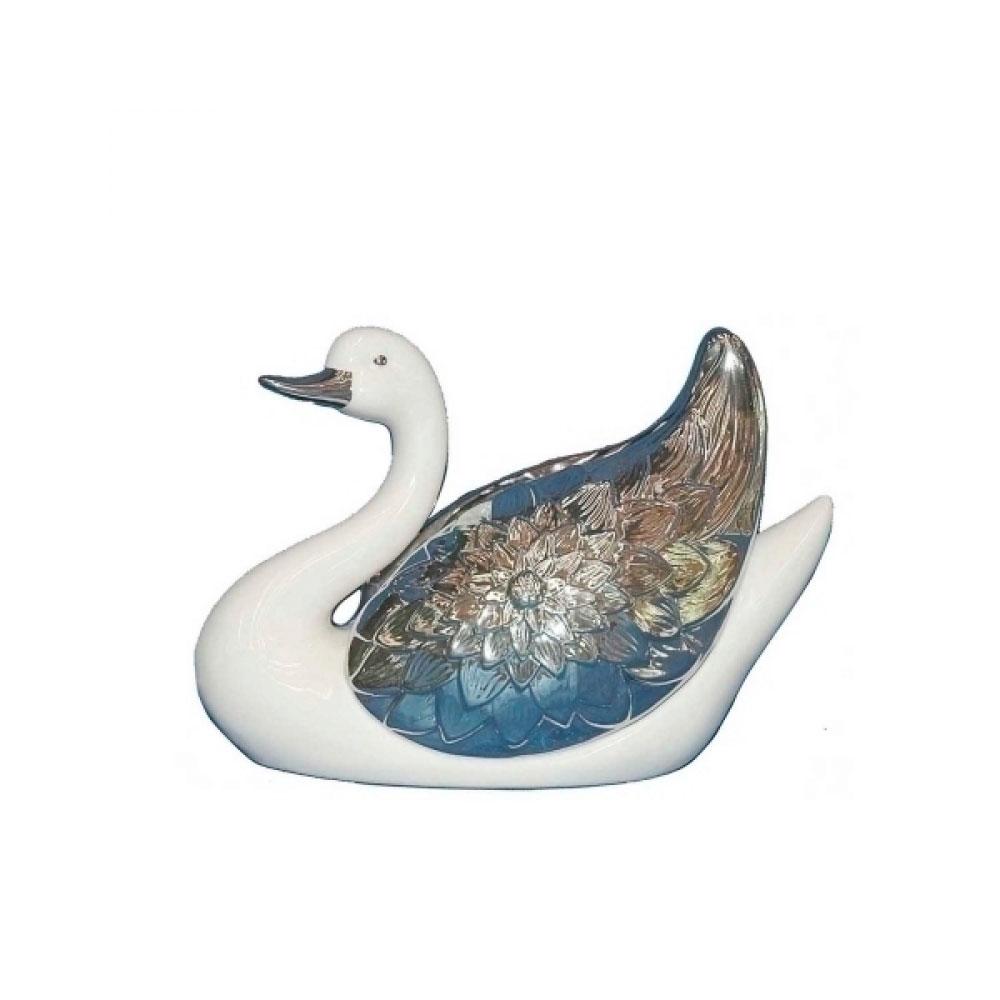 Animal Decorativo Cisne Branco e Prata 22X15 Cm