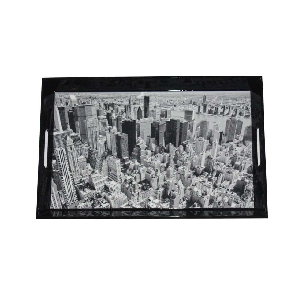 Bandeja Dark New York City Fd de Madeira 46cm x30cmx3cm