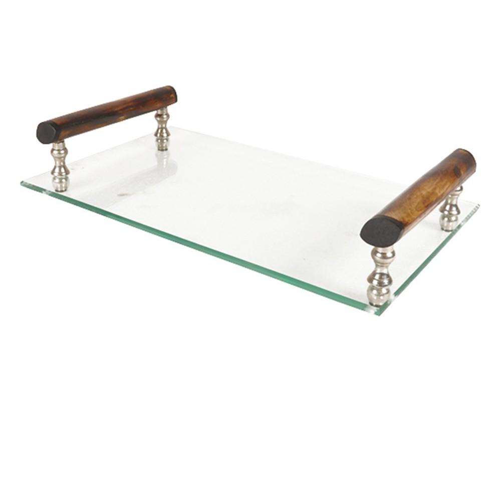 Bandeja Decorativa de Vidro com Alça de Madeira 10cmx33cmx23cm
