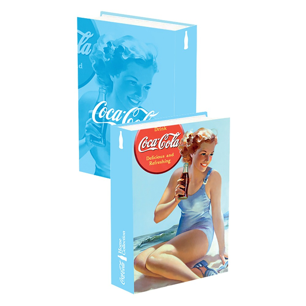 Caixa Livro Coca-Cola Pin Up Lady In The Beach 25cmx17cmx4cm