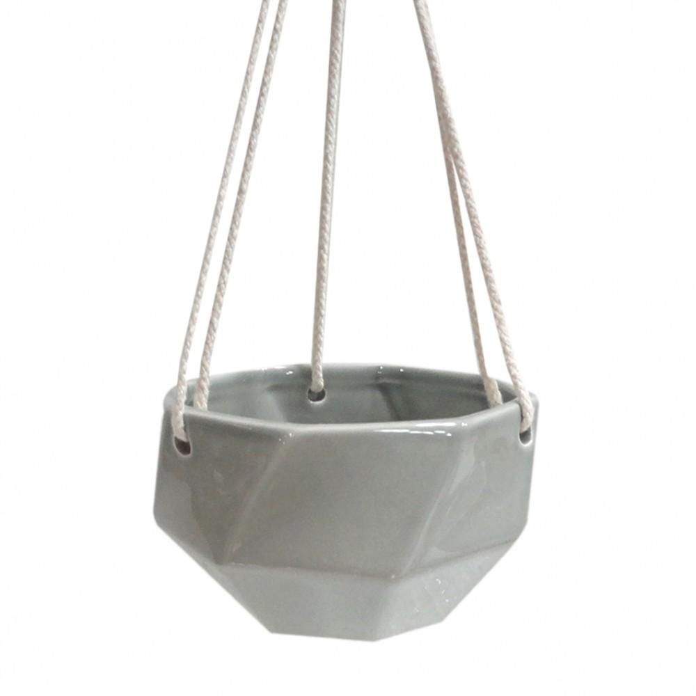 Cachepot Cerâmica Cinza Oval 13cm De Corda 08cmx14cm x14cm