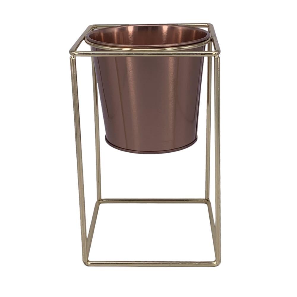 Cachepot de Metal Preto e Dourado  20cmx12cm x12cm