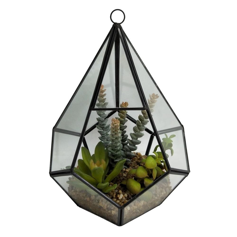 Cachepot Terrareo de Vidro e Metal Com Flores   27cmx19cmx19cm
