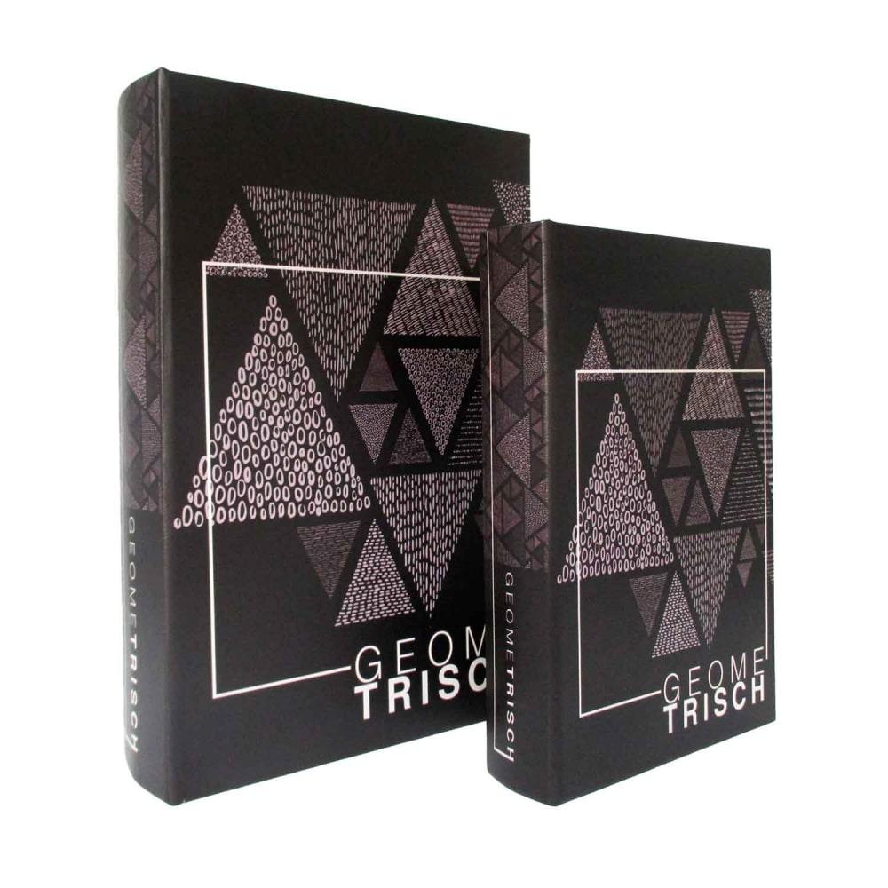 Caixa De Livro De Madeira 2 Peças Preta Geométrica