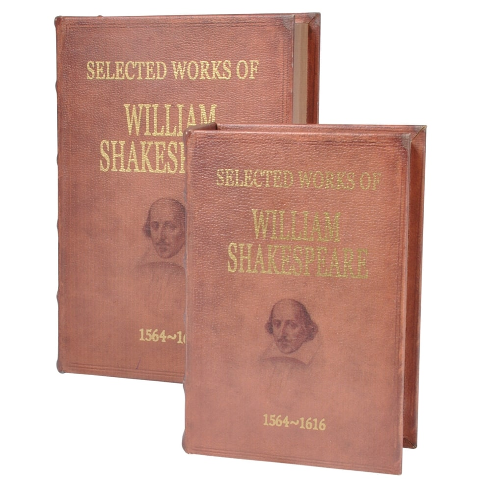 Caixa De Livro De Madeira 2 Peças Willam Shakespeare