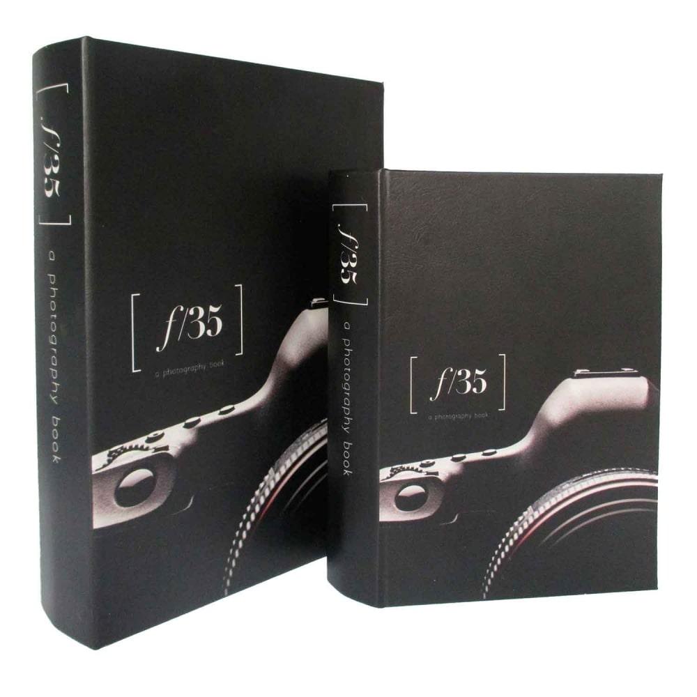 Caixa de livro De Madeira Fotografia 2 Peças Preto