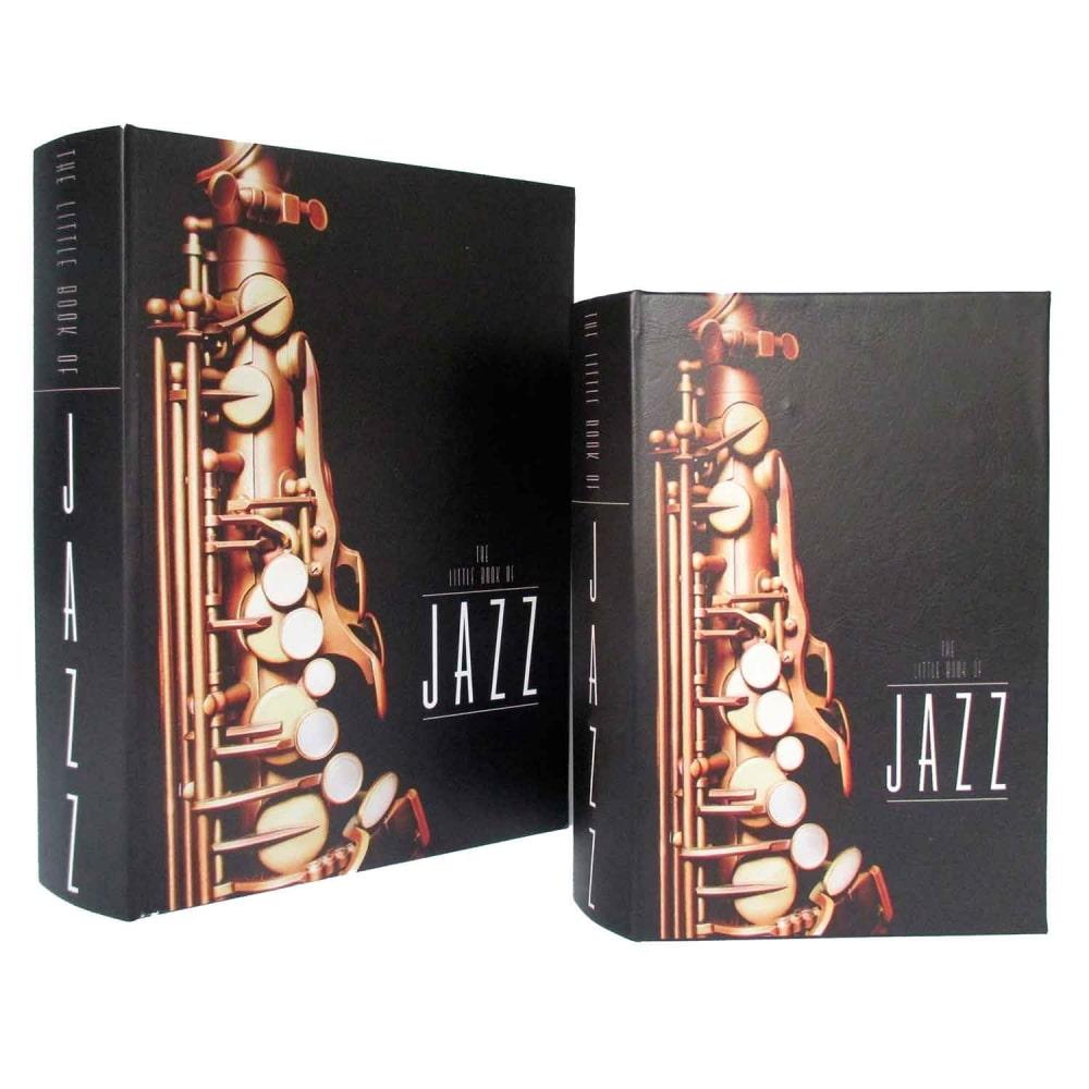 Caixa de livro De Madeira Jazz 2 Peças Preto