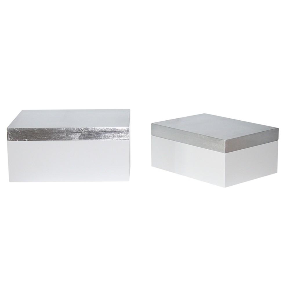 Caixa de Madeira Cinza e Branca 2 Peças G17x08x19cm P14x06x16cm