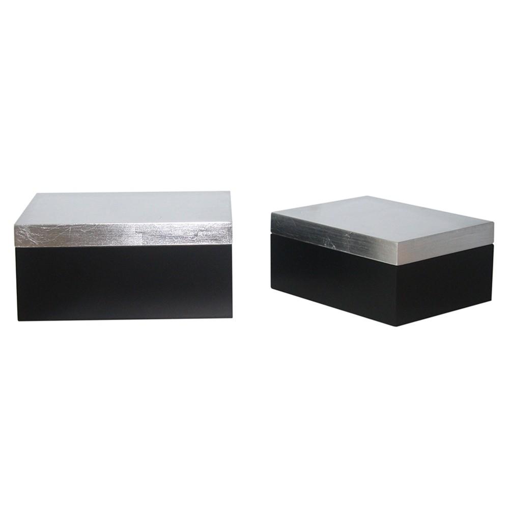 Caixa de Madeira Cinza e Preta 2 Peças G17x08x19cm P14x06x16cm