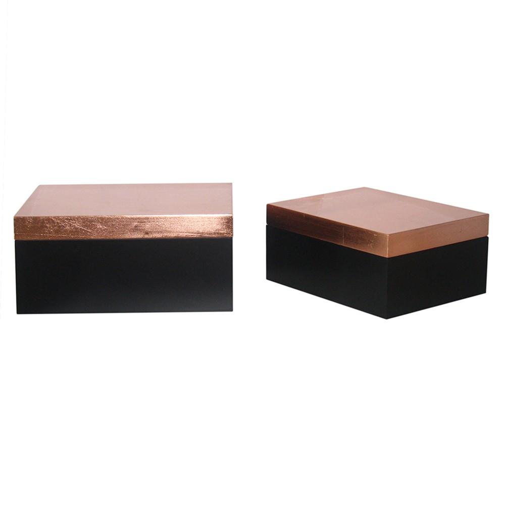 Caixa de Madeira Preta e Cobre  2 Peças G17x08x19cm P14x06x16cm