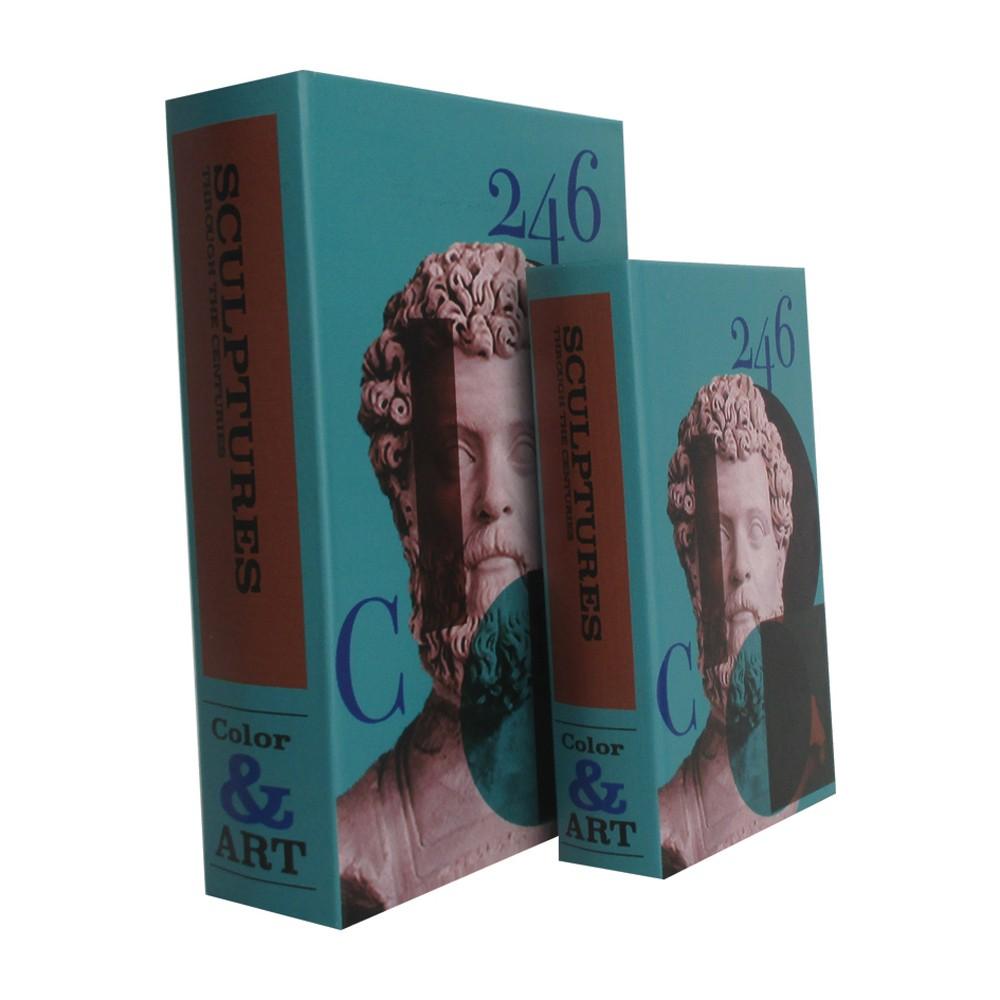 Caixa Livro em Madeira 246 Color e Arte 2 Peças 30cmx21cmx7cm