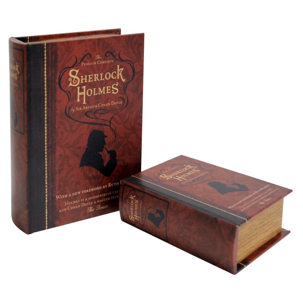 Caixa Livro em Madeira 2 Peças Sherlock Holmes 27cmx19cmx8cm