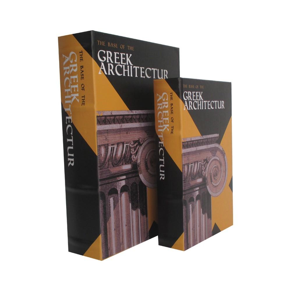 Caixa Livro em Madeira Greek Architectur Peças 2 30cmx21cmx7cm