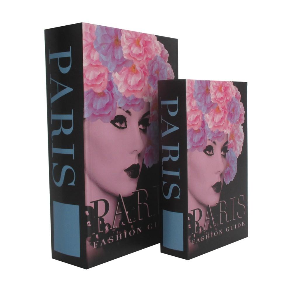 Caixa Livro em Madeira Paris 2 Peças 30cmx21cmx7cm