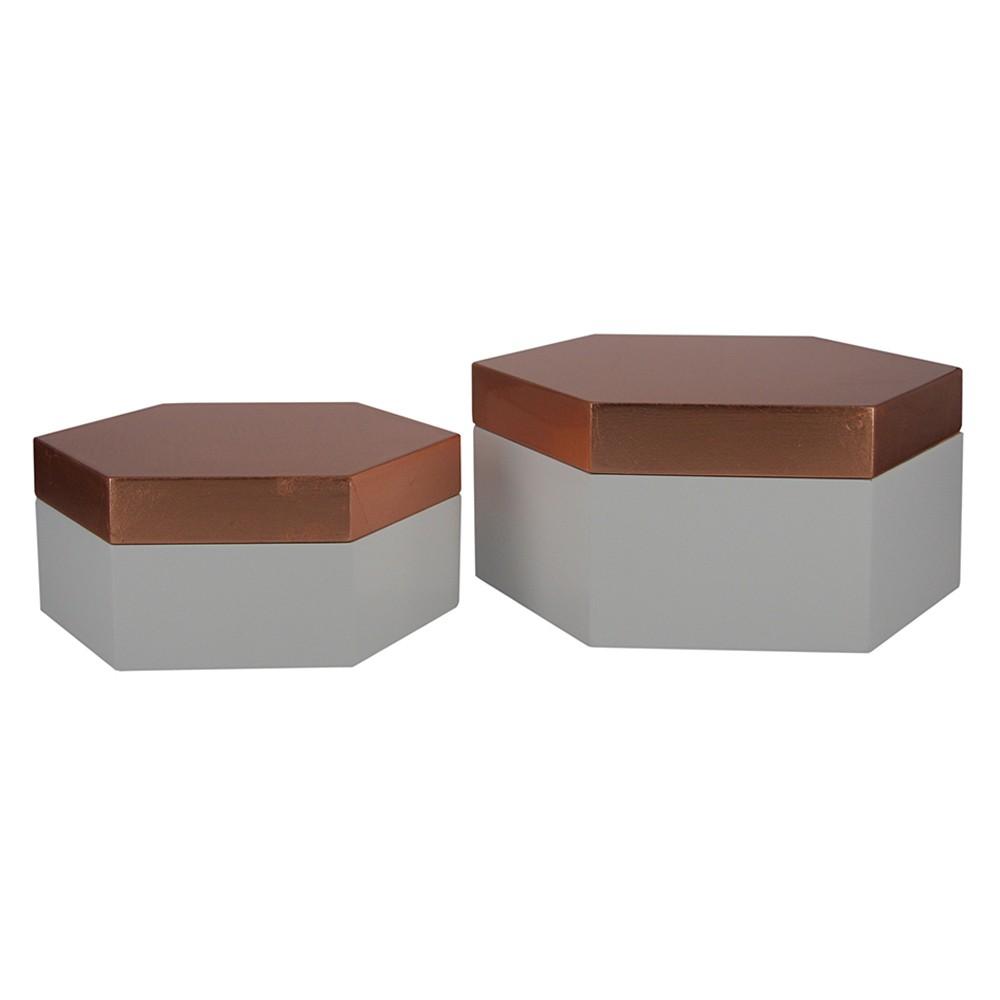 Caixa Sextavada de Madeira  2 Peças G17x08x19cm P14x06x16cm