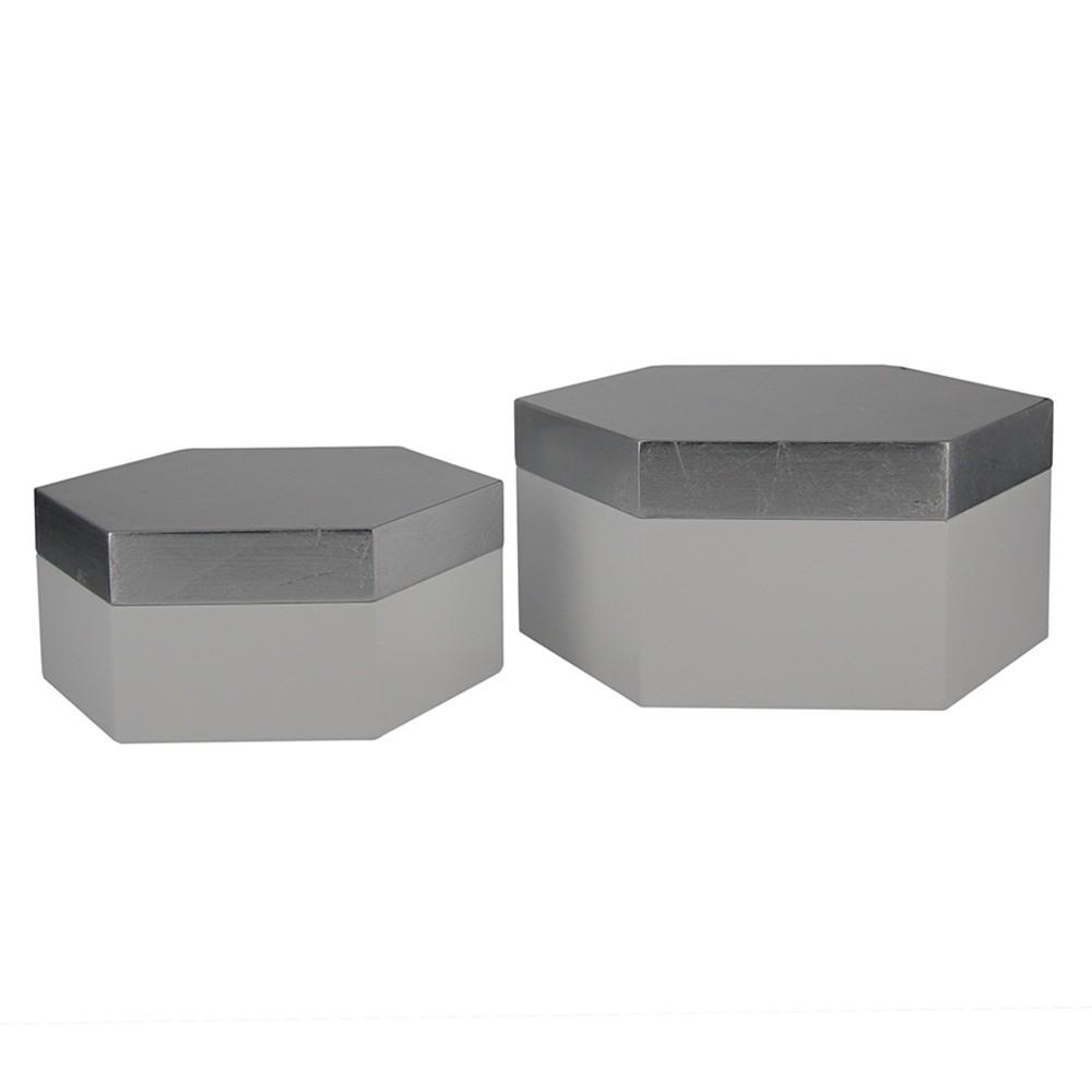 Caixa Sextavada de Madeira Cinza 2 Peças G17x08x19cm P14x06x16cm