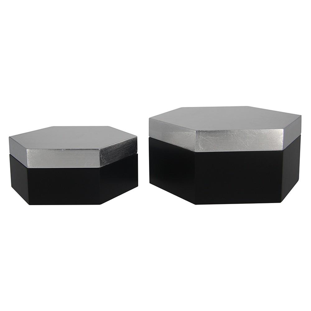 Caixa Sextavada de Madeira Cinza e Preto 2 Peças G17x8x19cm P14x6x16cm