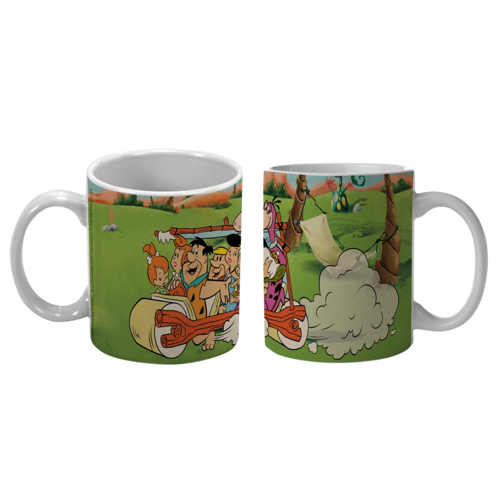 Caneca Hb Flintstones Family In a Car Porcelana 300ml