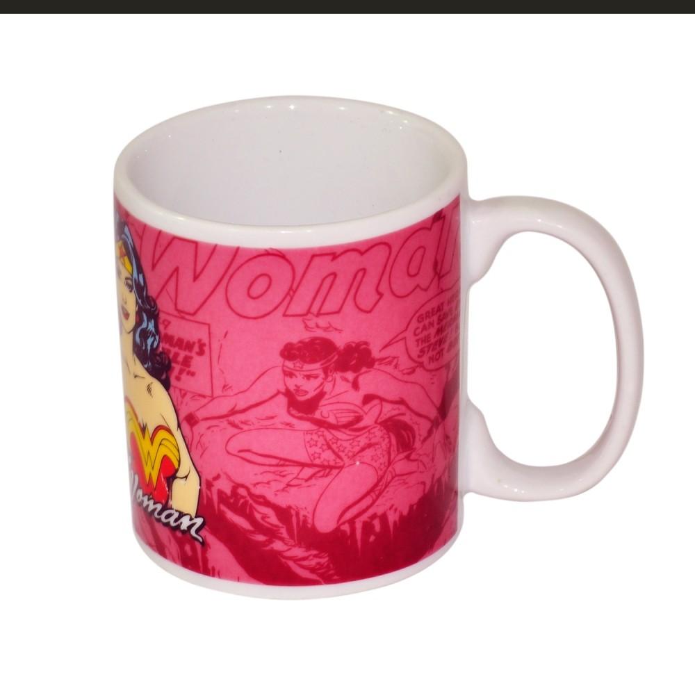 Caneca Porcelana Dc Wonder Woman 300ml Rosa