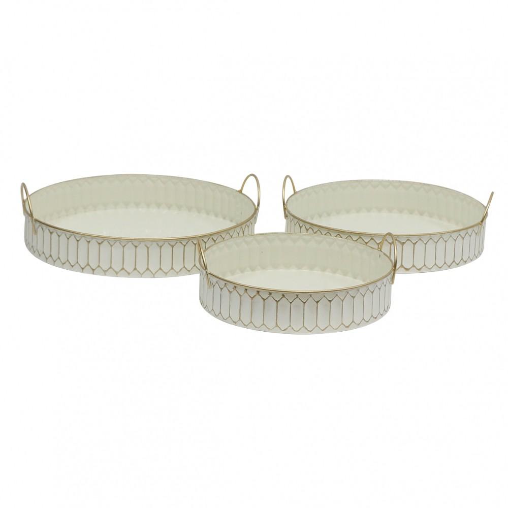 Conjunto 3 Bandejas De Metal  Branco 10cmx38cmx38cm