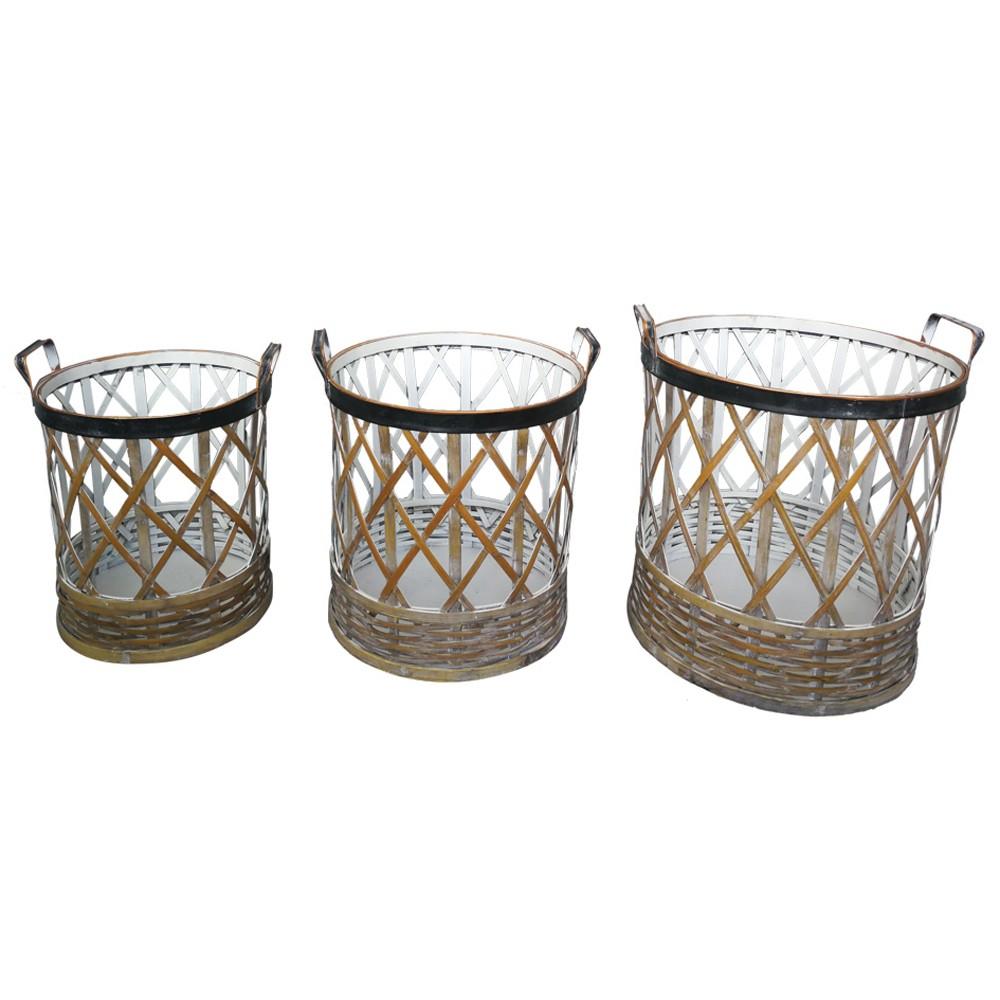 Conjunto de Cesto De Bambu e Metal 3 peças