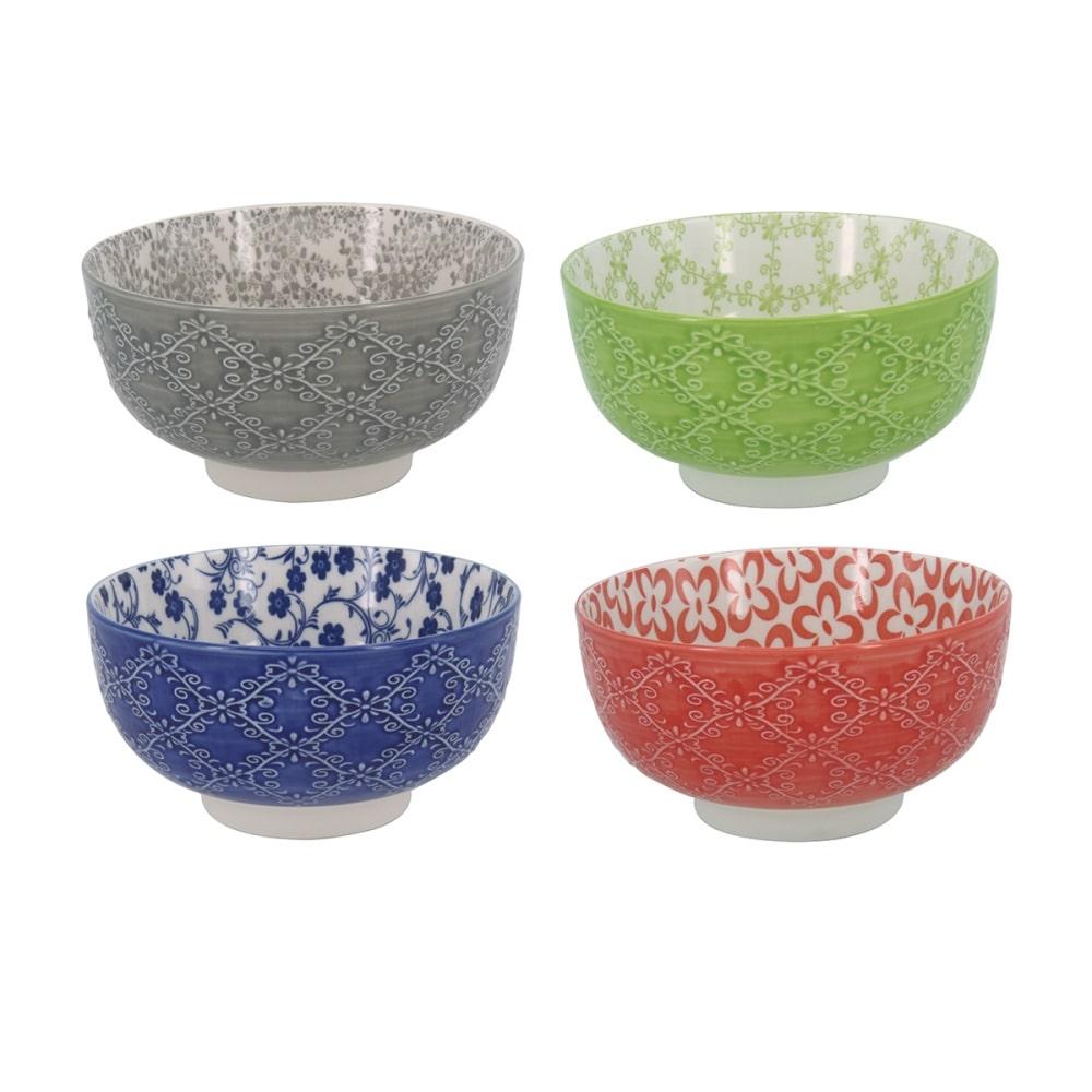 Bolws de Cerâmica Coloridos Concha 4 Peças