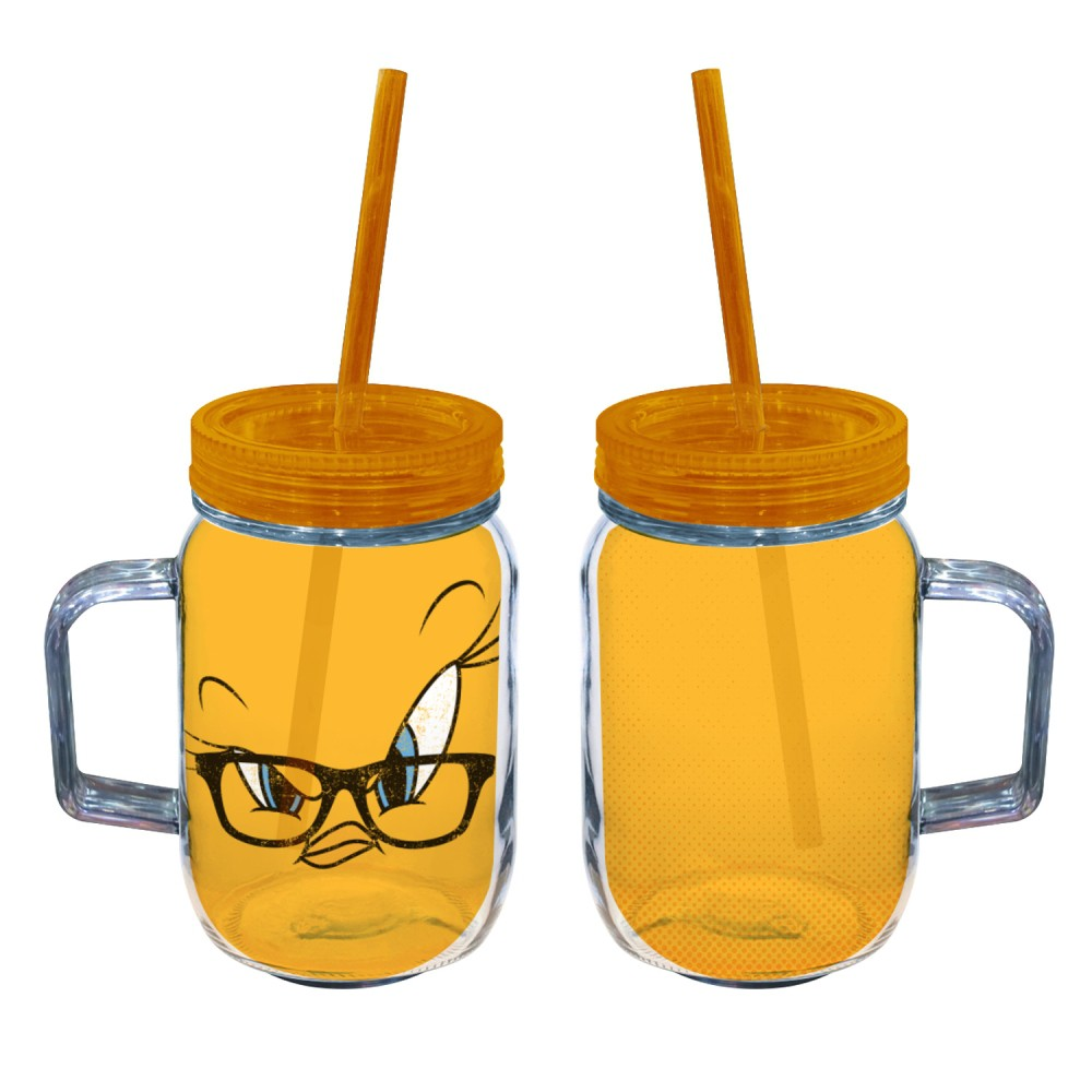 Copo jarra Piu-Piu Amarelo Acrílico 550ml