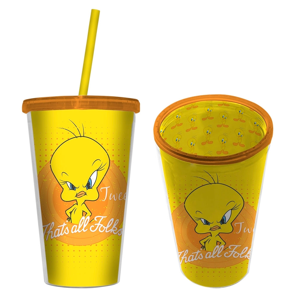 Copo Plástico Com Tampa E Canudo Looney Mad Tweety Thats All.