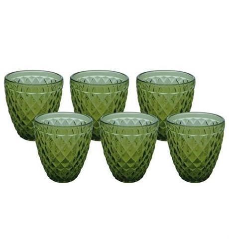 Copos de Bico de Abacaxi Verde 6 Peças 10cmx8,5cm