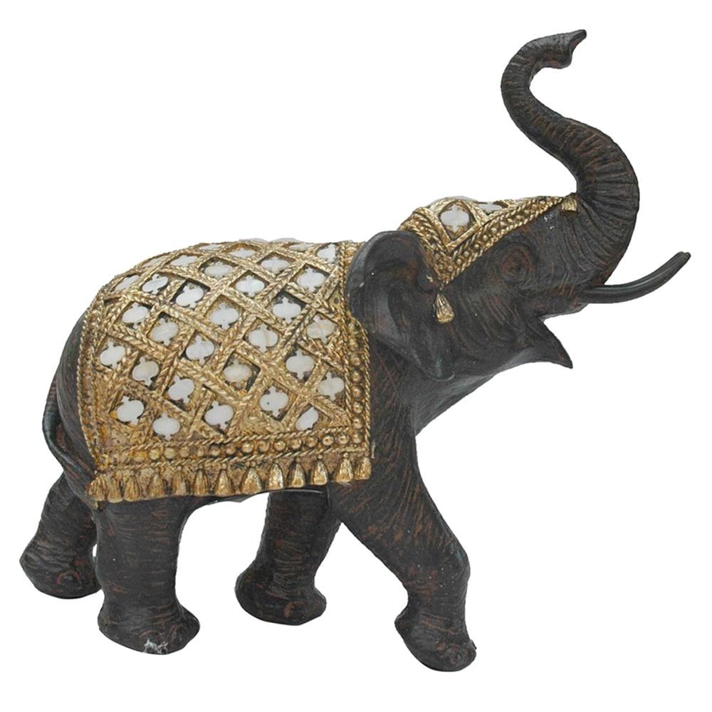 Elefante de Resina Decorativa Marrom com Dourado  26cmx10cmx18cm