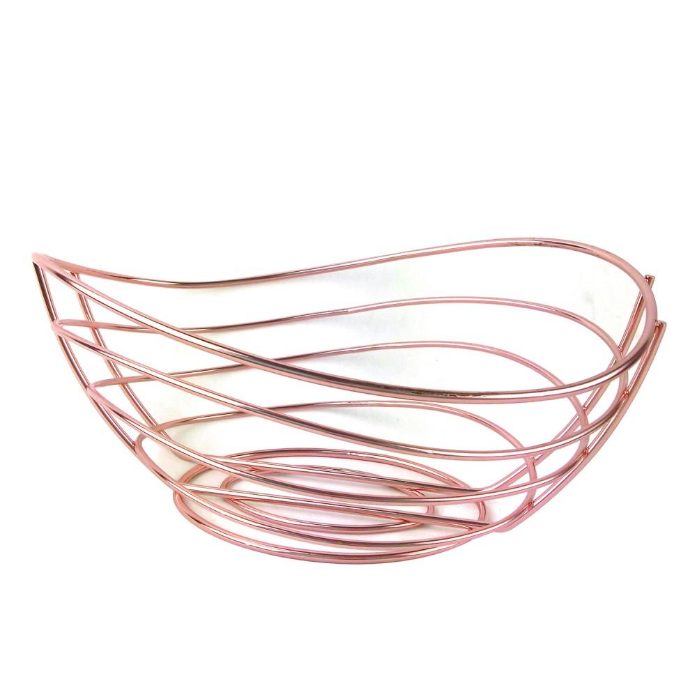 Fruteira de Metal Oval Cobre 21x09 cm