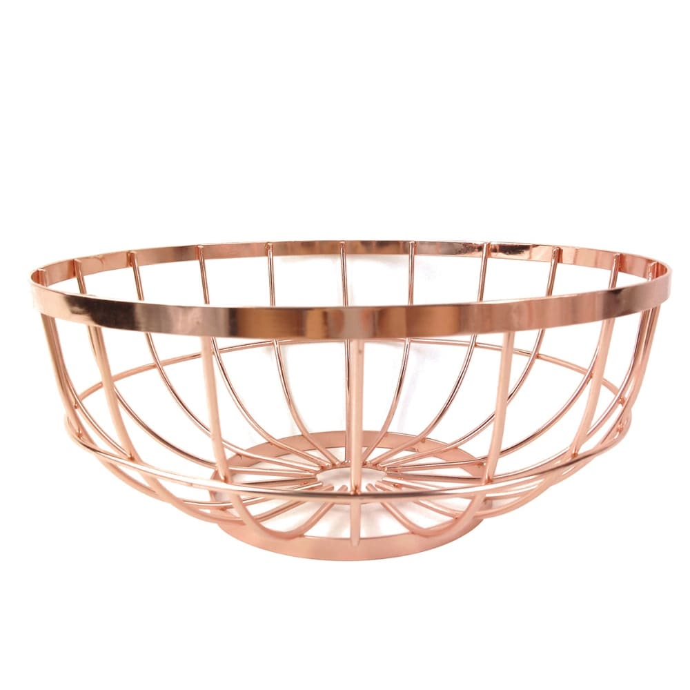 Fruteira De Metal Cobre Oval Bec   Ø30cmx12cm