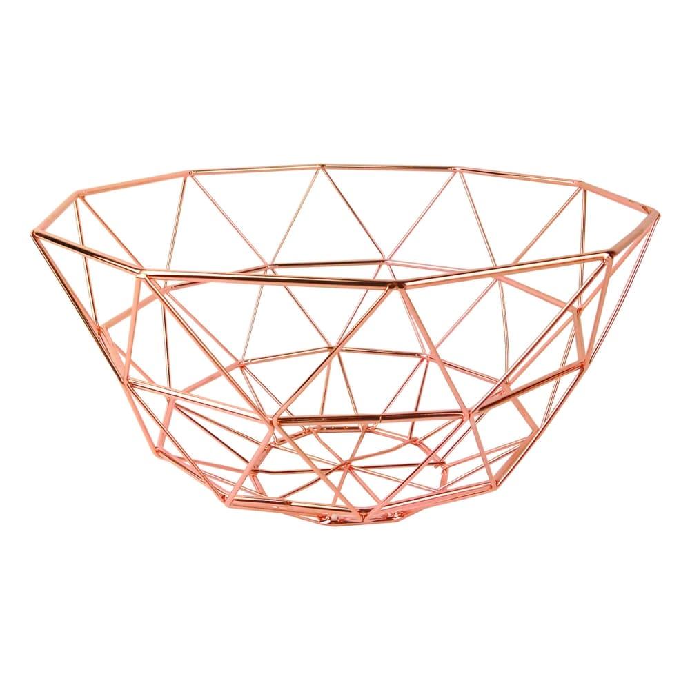 Fruteira de Metal Cobre Oval Lux 26cmx14cm