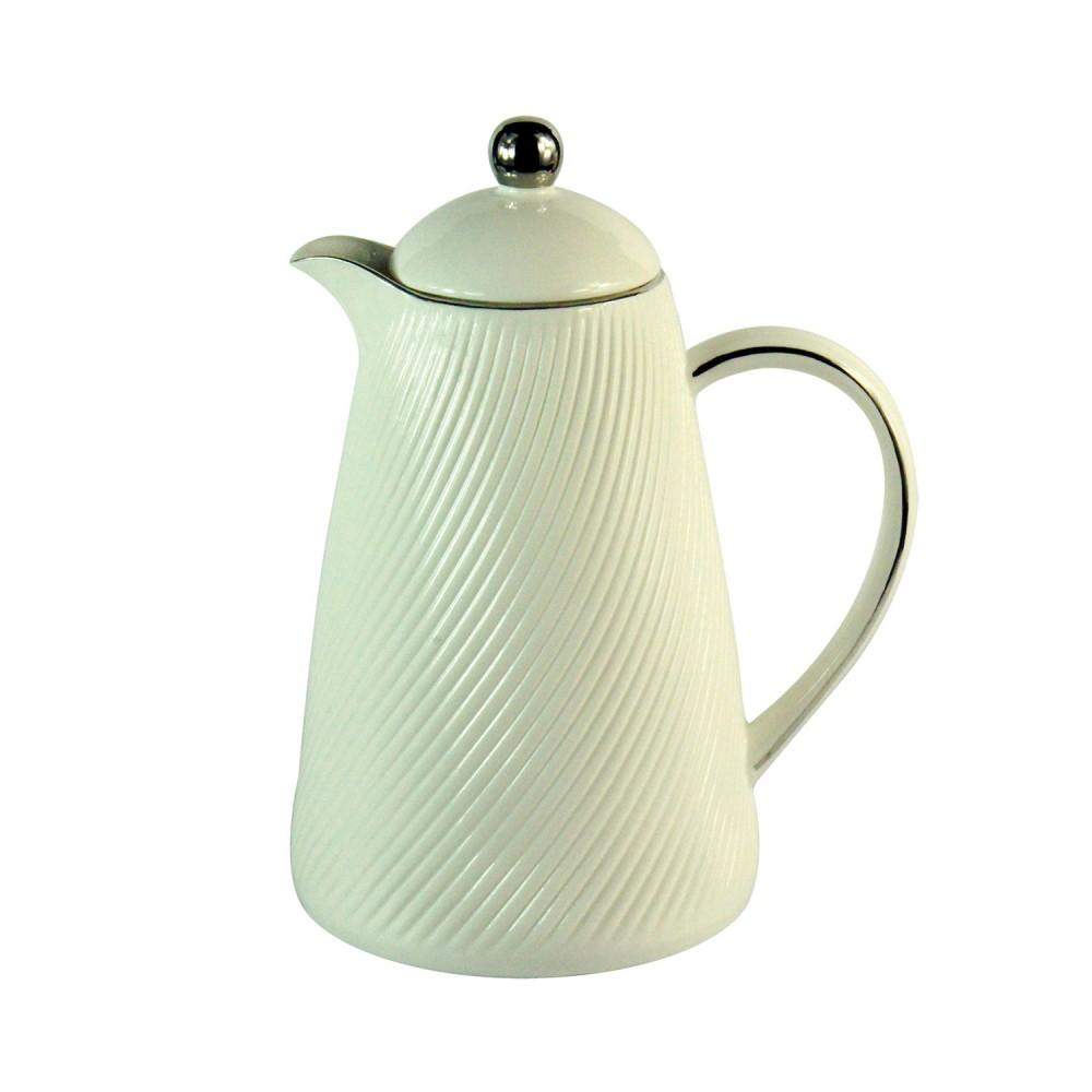 Garrafa Térmica De Porcelana e Vidro Lux Branca 2L