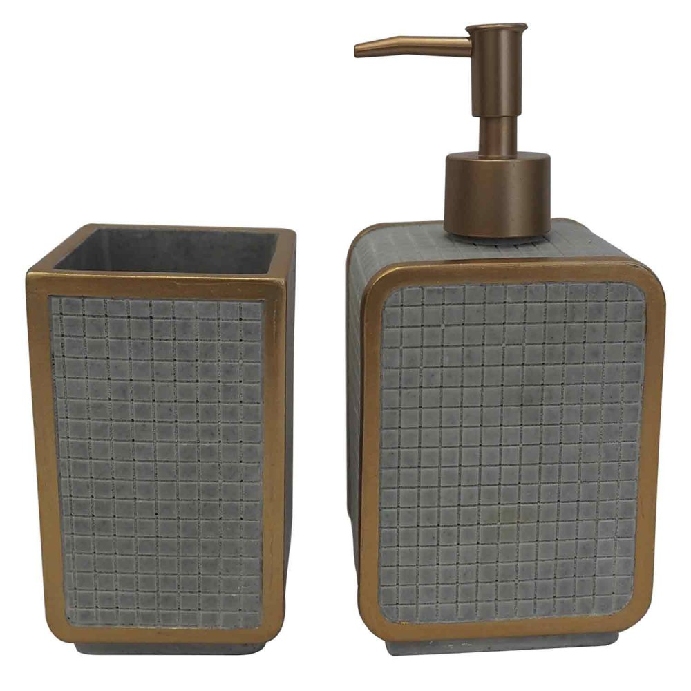 Kit De Banheiro Em Resina Cinza 2 peças