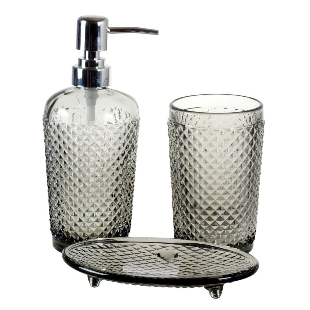 Kit De Banheiro Em Vidro Transparente cinza 3 peças
