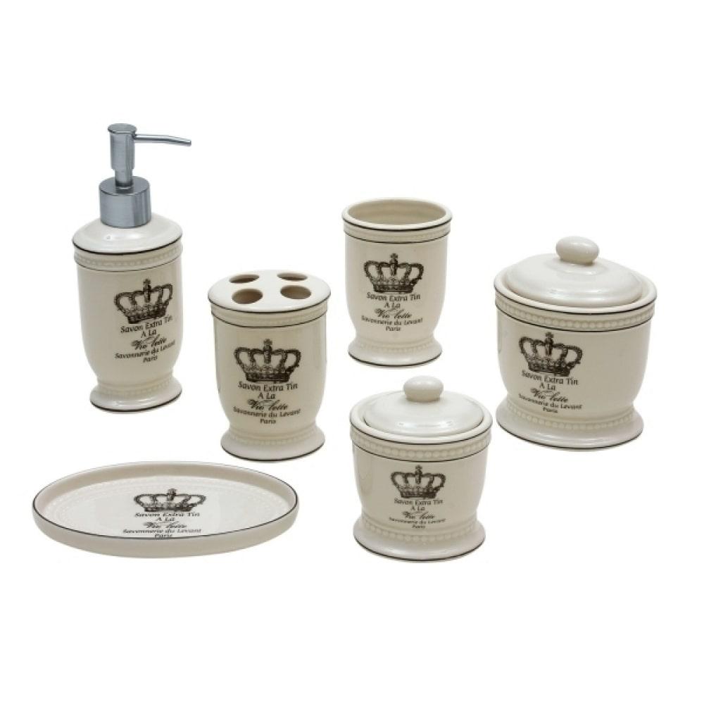 Kit De Banheiro Rei De Porcelana 6 Peças Branco
