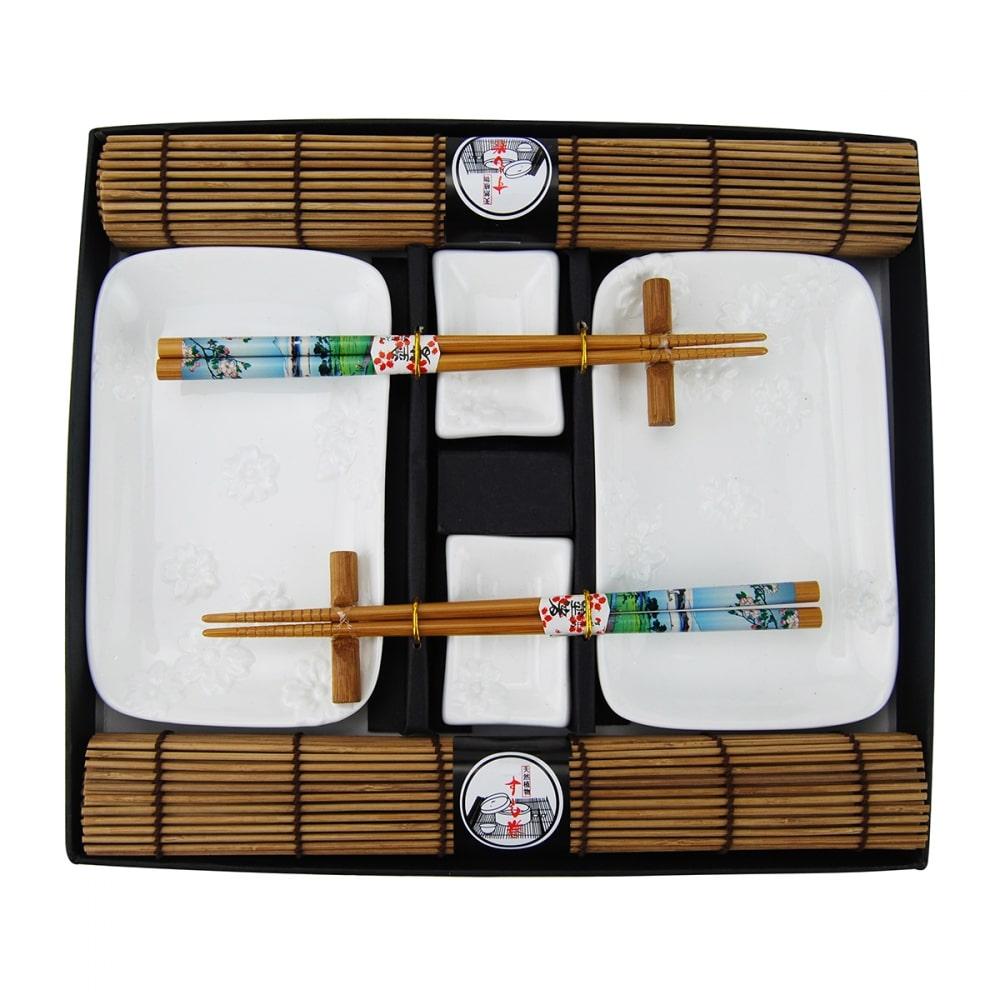 Kit De Comida Japonesa para 2 Pessoas Branco de Porcelana