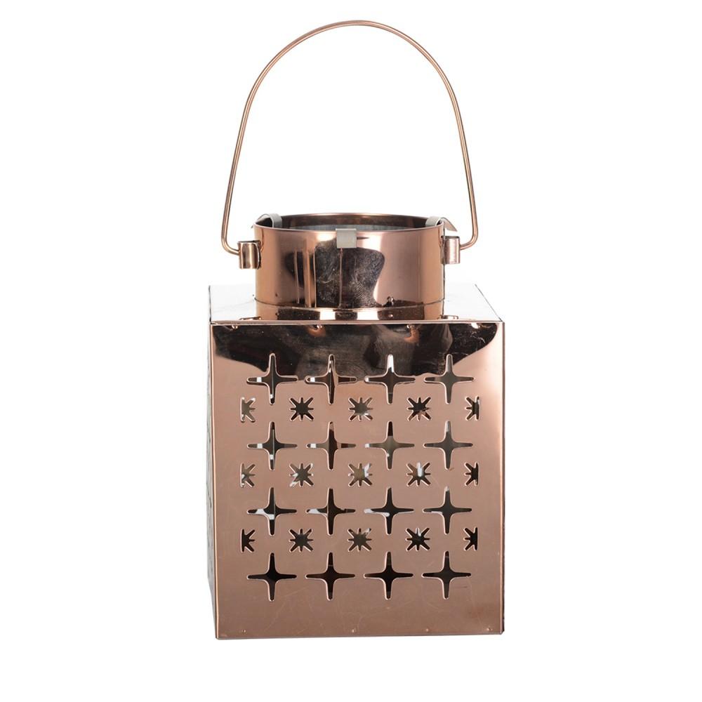 Lanterna De Aço Inox Bronze 14cmx10cmx10cm