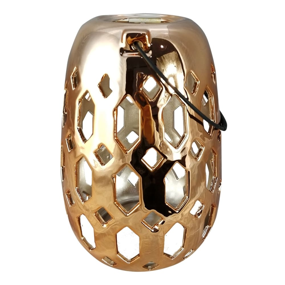 Lanterna de Cerâmica Dourada 22cmx16cmx16cm