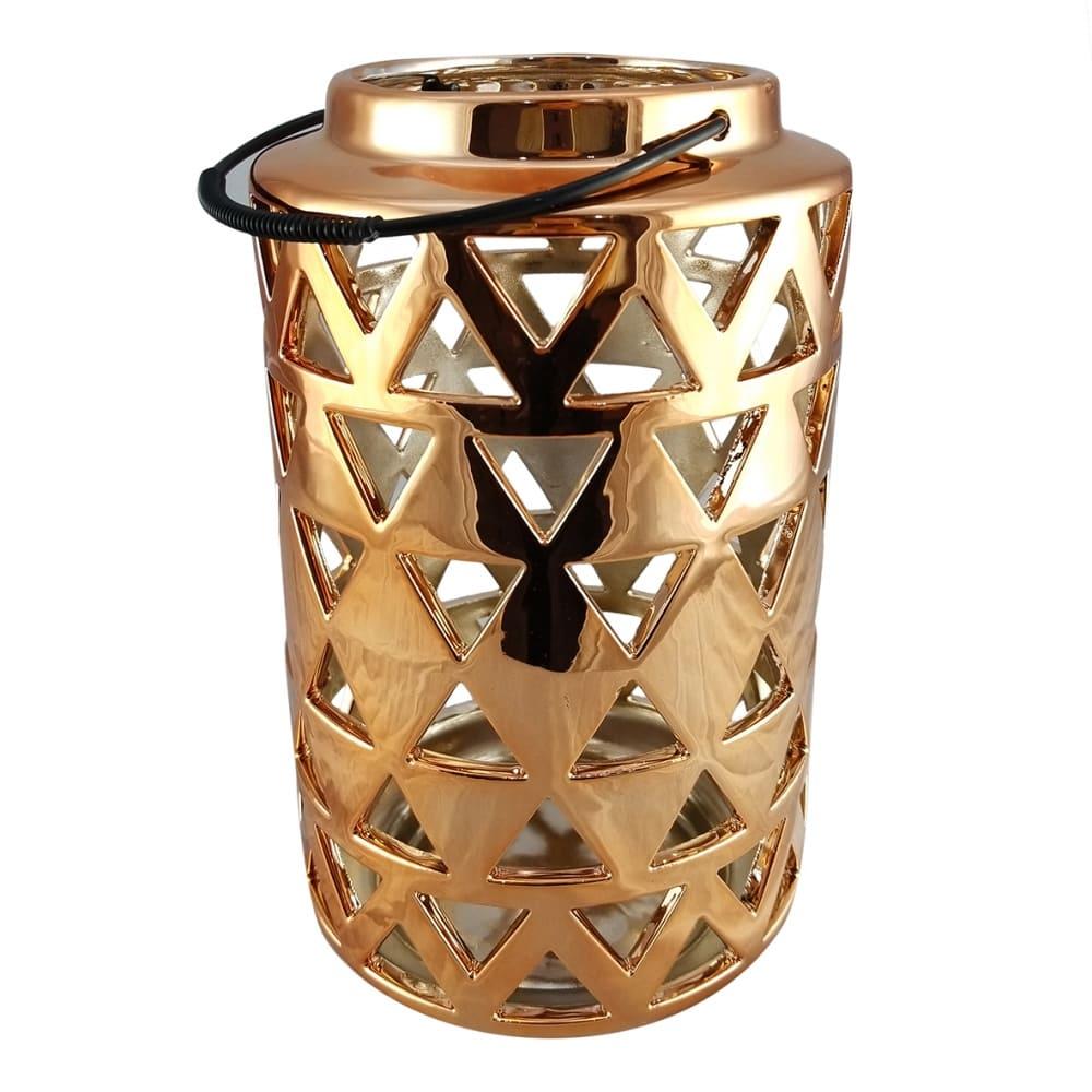 Lanterna de Cerâmica Dourada 26cmx15cmx15cm