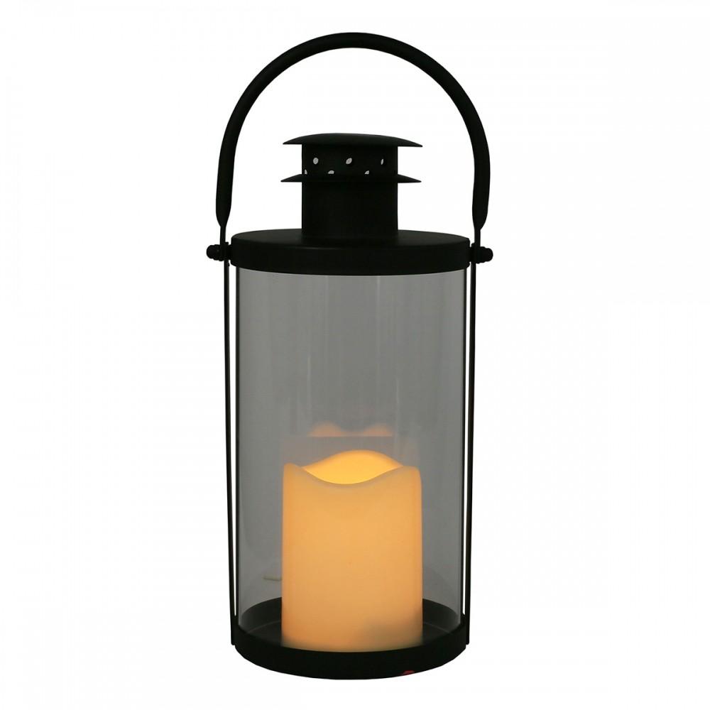 Lanterna de Metal e Vidro com Vela de Led 26cmx12cmx14cm